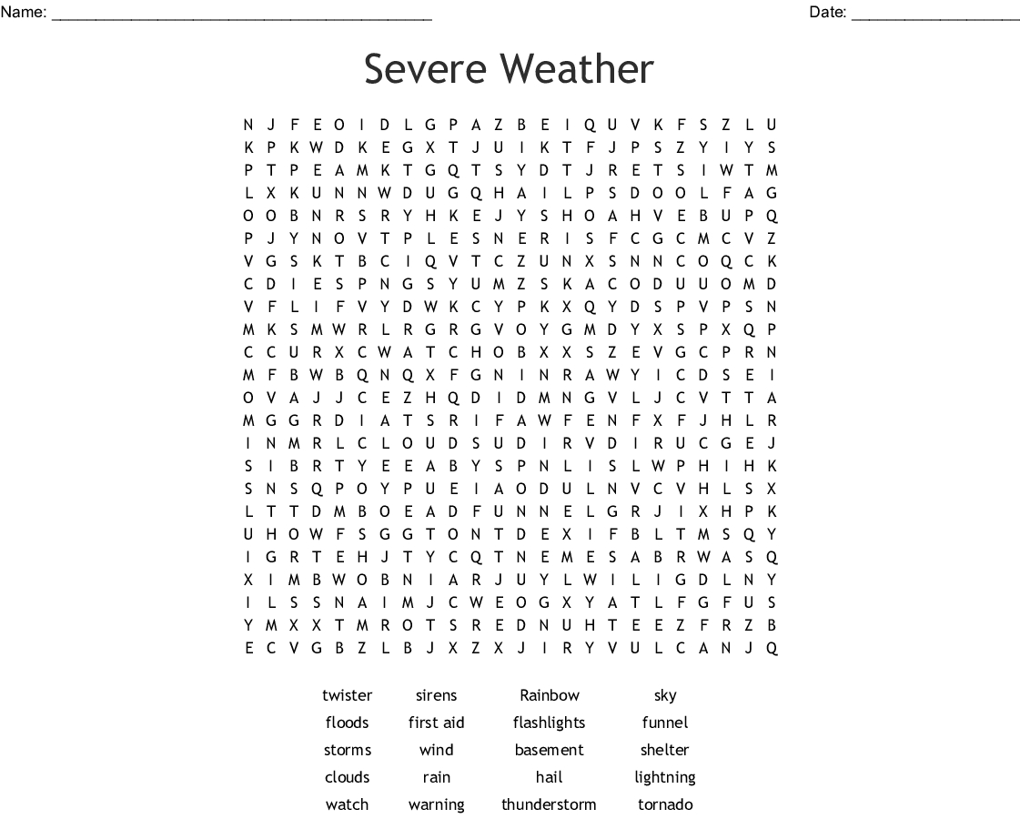 Severe Weather Word Search - Wordmint