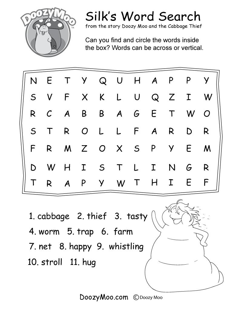 Silk's Word Search Worksheet (Free Printable)