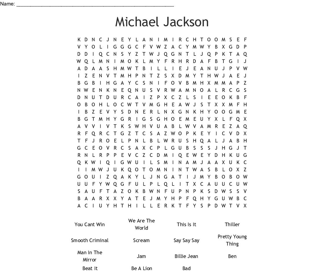 Similar To Michael Jackson Word Search - Wordmint