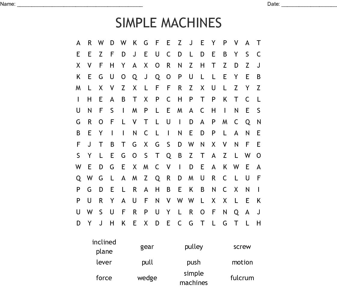 Simple Machines Word Search - Wordmint