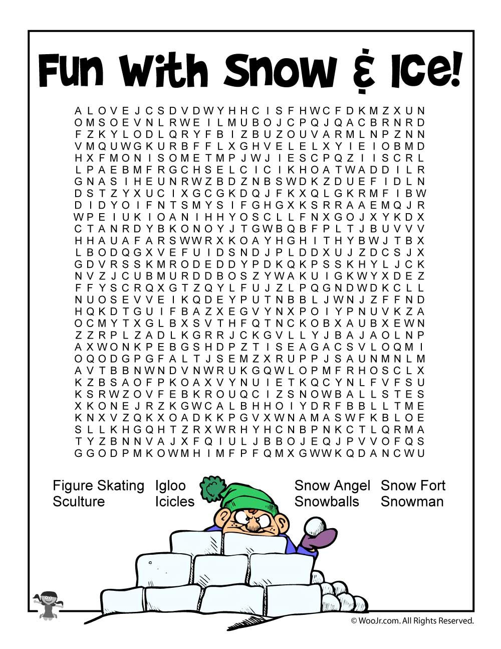 Snow And Ice Word Search For Kids | Woo! Jr. Kids Activities