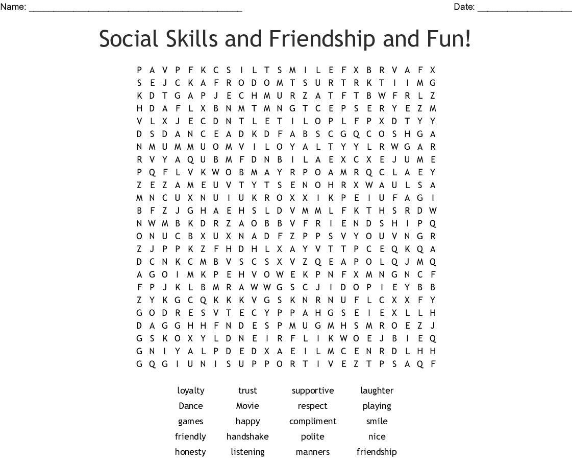Social Skills And Friendship And Fun! Word Search - Wordmint