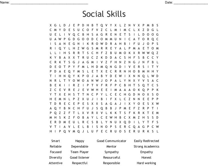 Social Skills Word Search Printable