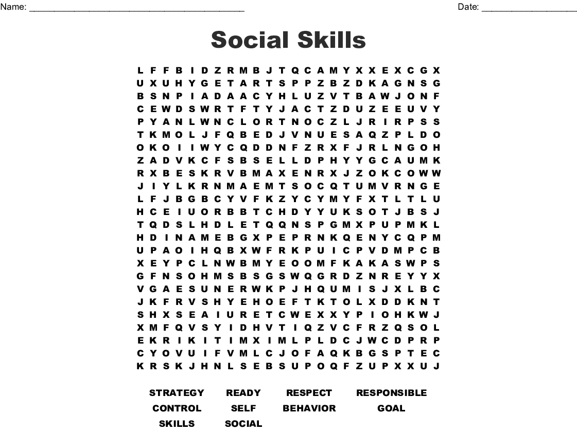 Social Skills Word Search - Wordmint