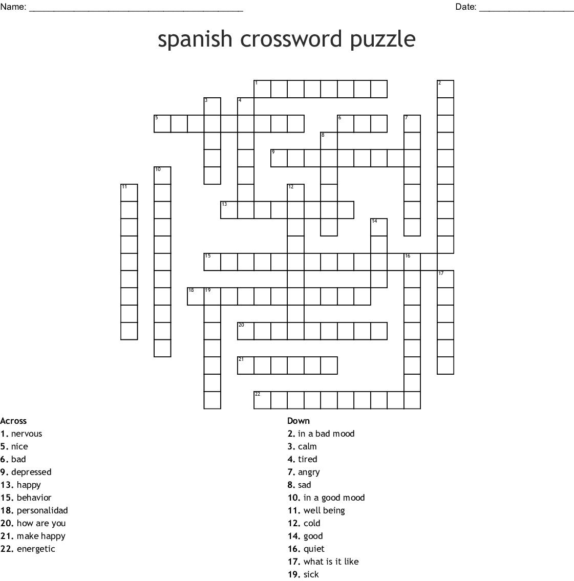 Spanish Crossword Puzzle - Wordmint