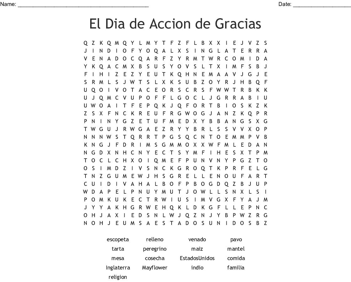 Spanish Thanksgiving Crossword Word Search - Wordmint