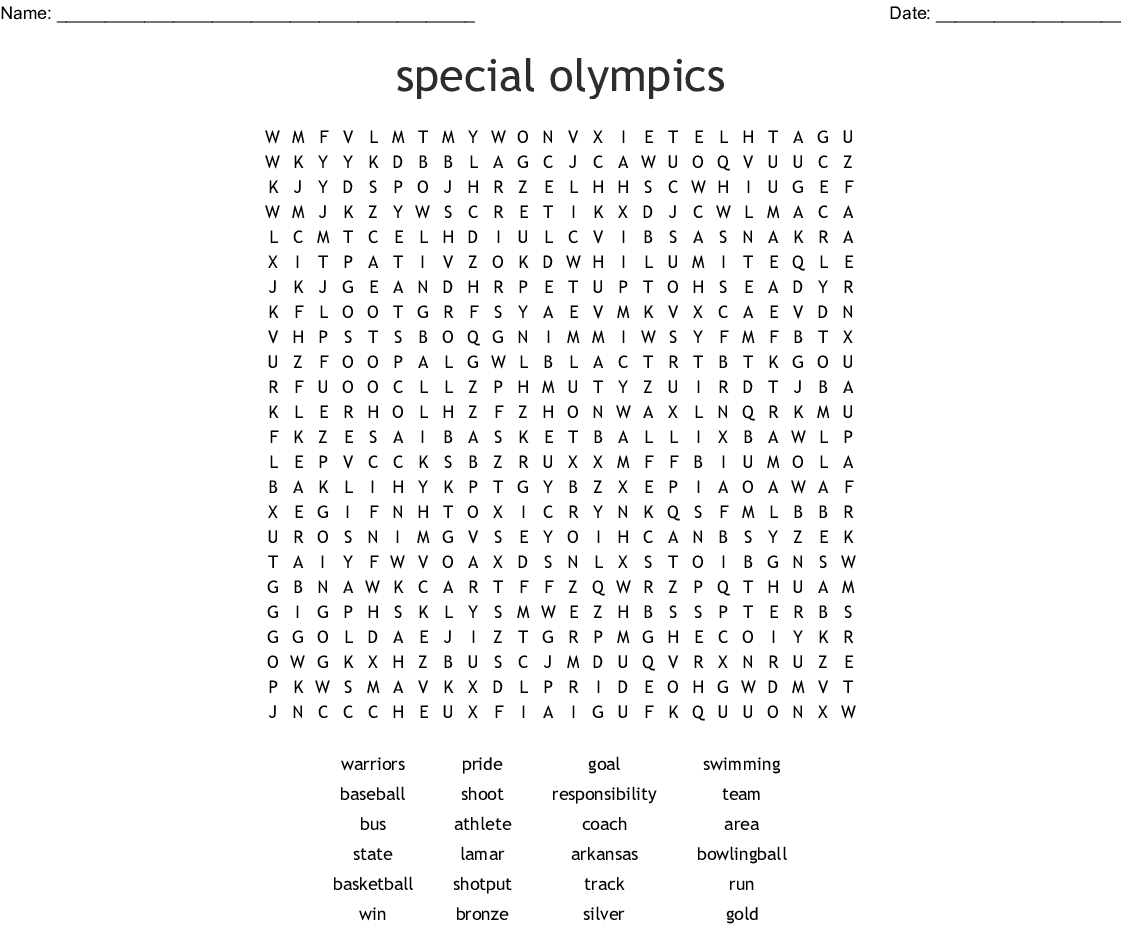 Special Olympics Word Search - Wordmint