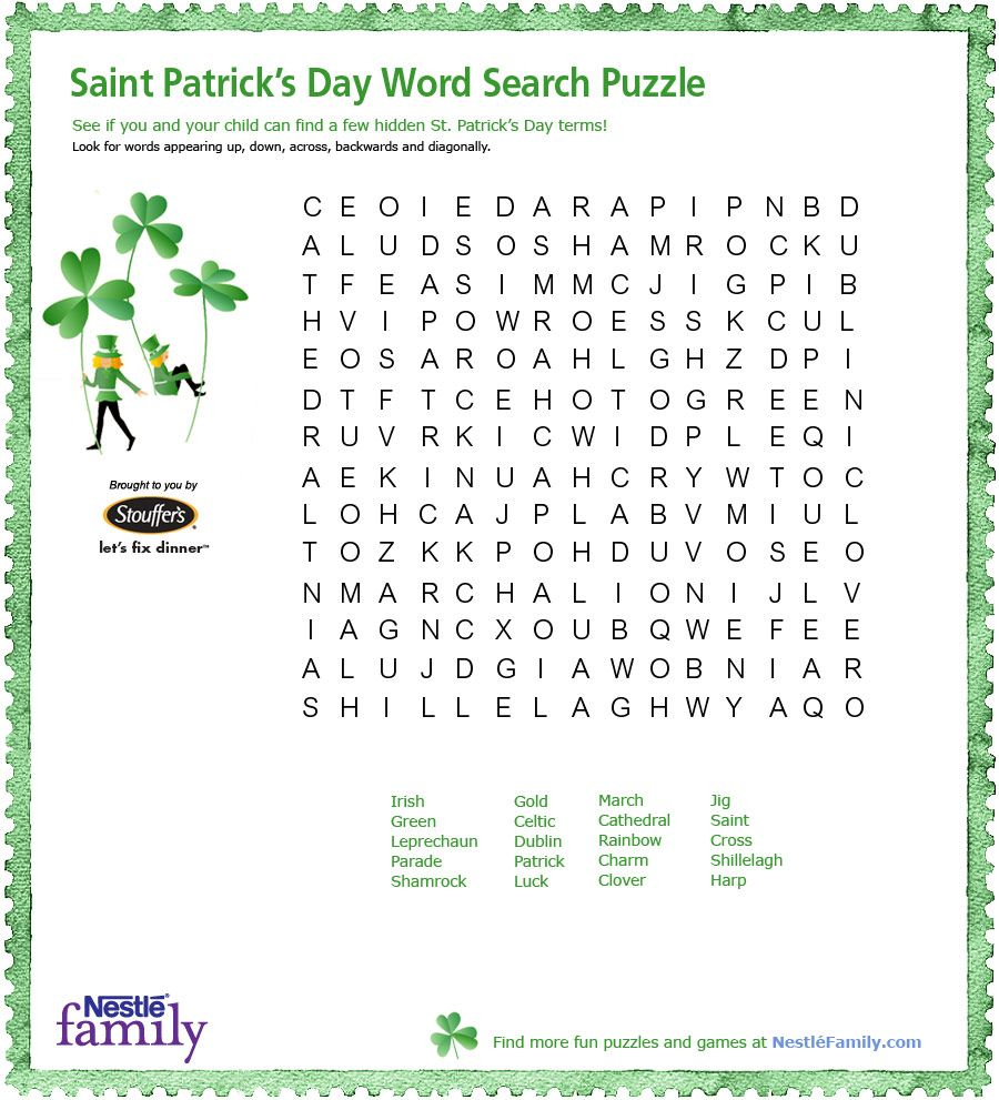 St Patrick's Day Word Search Printable - Google Search (With