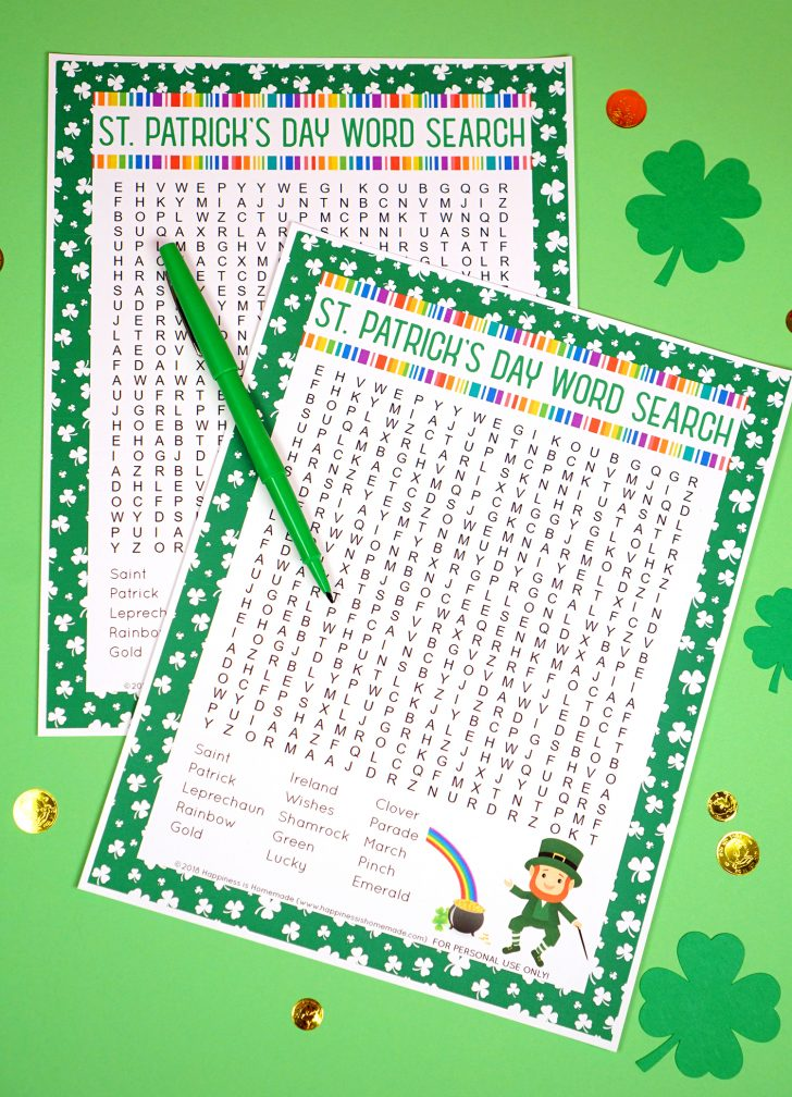 St Patrick Word Search Puzzles Printable