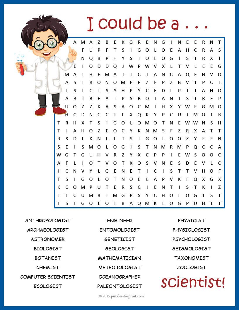 Stem Day Activity - Science Career Word Search Fun | Science