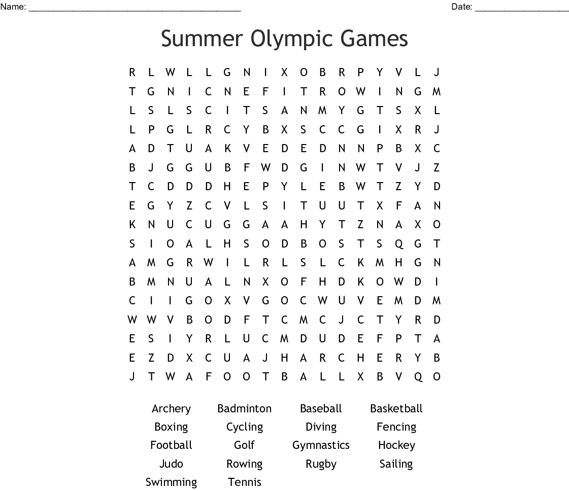 Summer Olympic Games Word Search - Wordmint