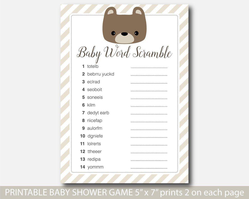 Teddy Bear Word Scramble Game, Printable Baby Shower Teddy