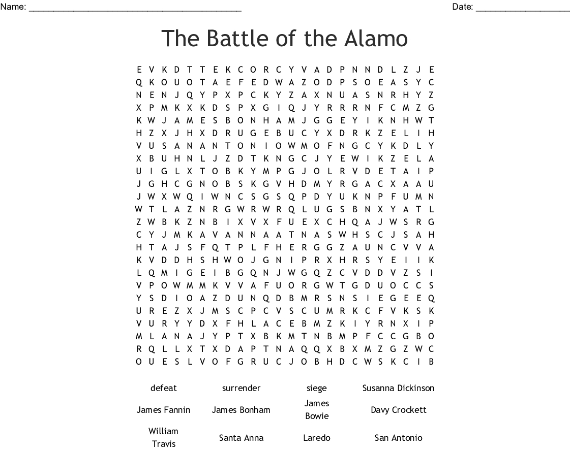 The Battle Of The Alamo Word Search - Wordmint