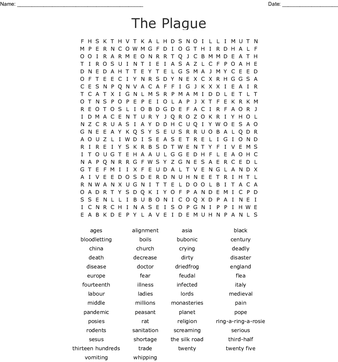 The Black Death Word Search - Wordmint