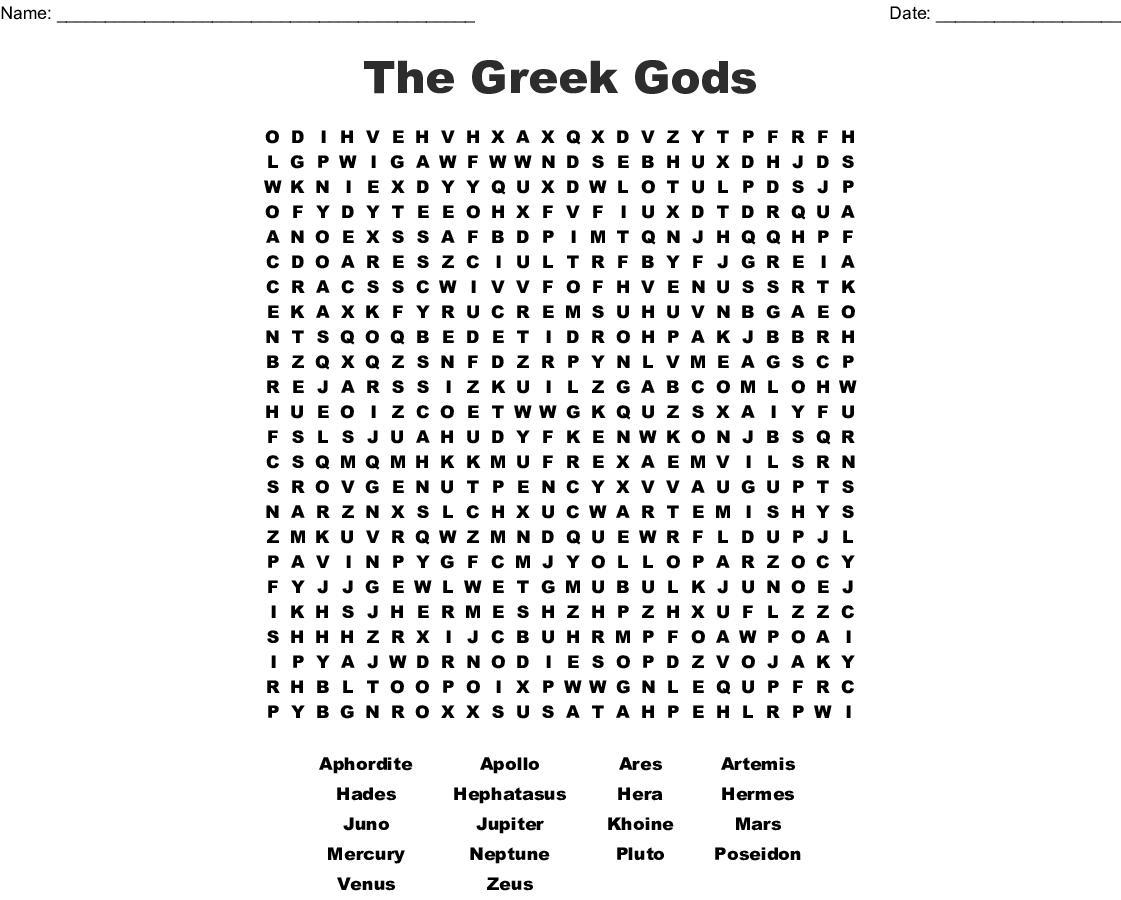 The Greek Gods Word Search - Wordmint