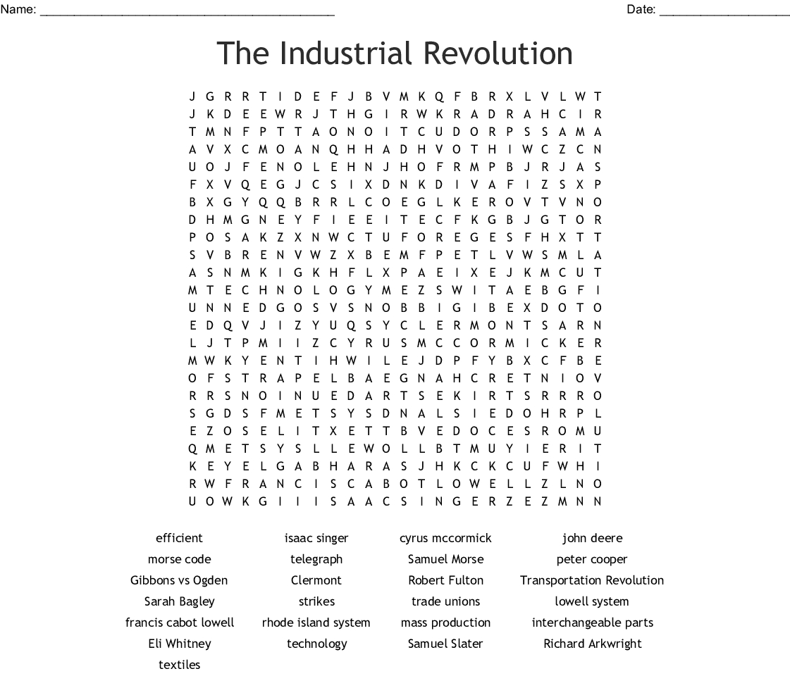 The Industrial Revolution Word Search - Wordmint