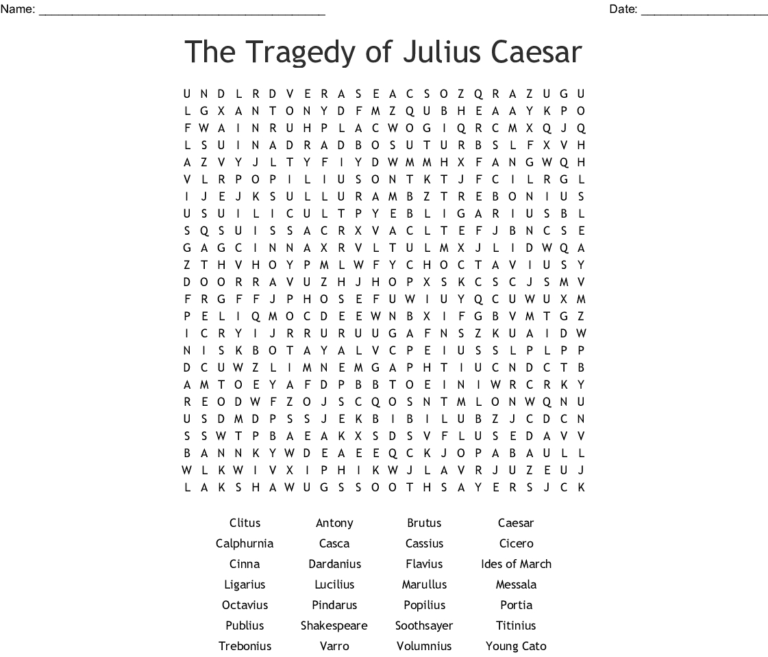 The Tragedy Of Julius Caesar Word Search - Wordmint