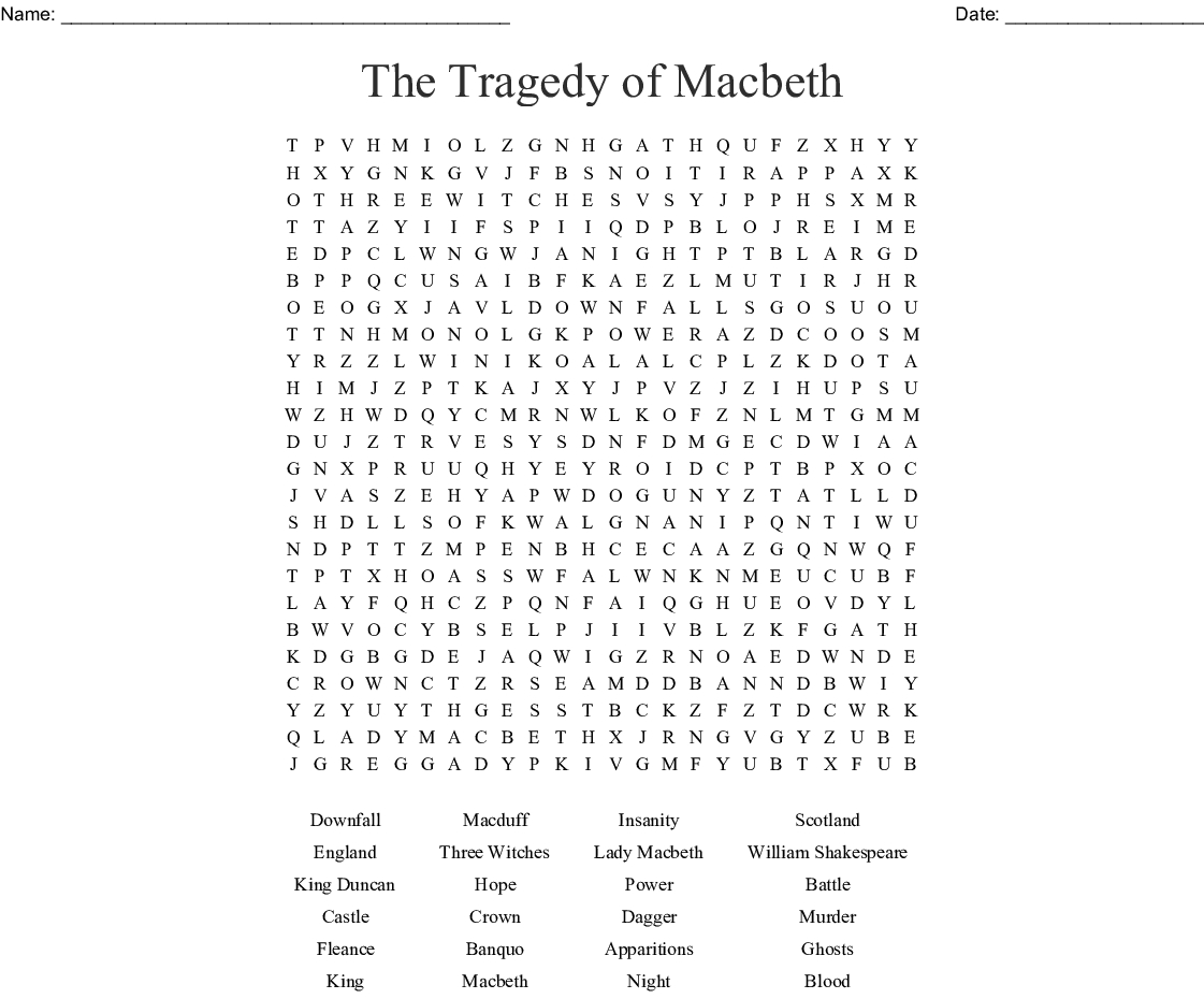 The Tragedy Of Macbeth Word Search - Wordmint