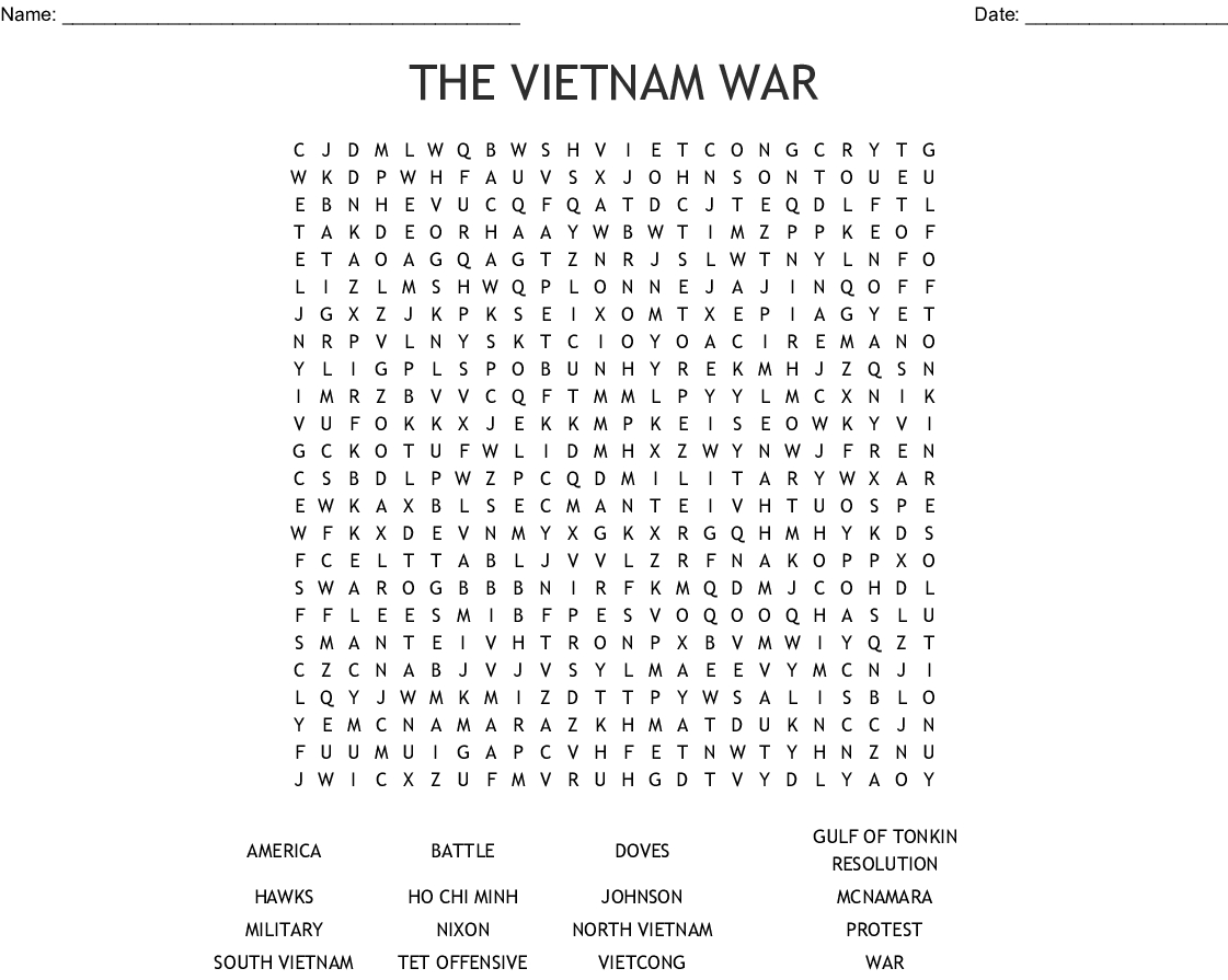 The Vietnam War Word Search - Wordmint