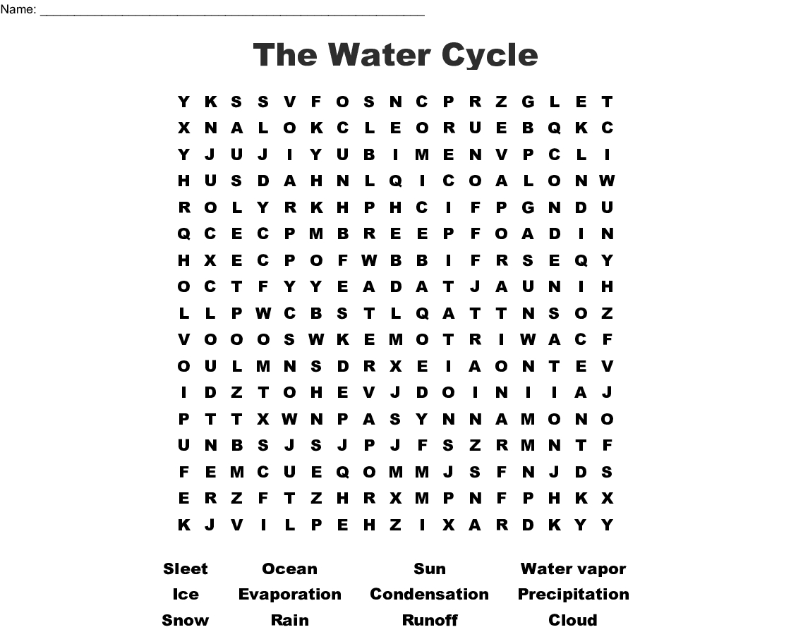 The Water Cycle Word Search - Wordmint