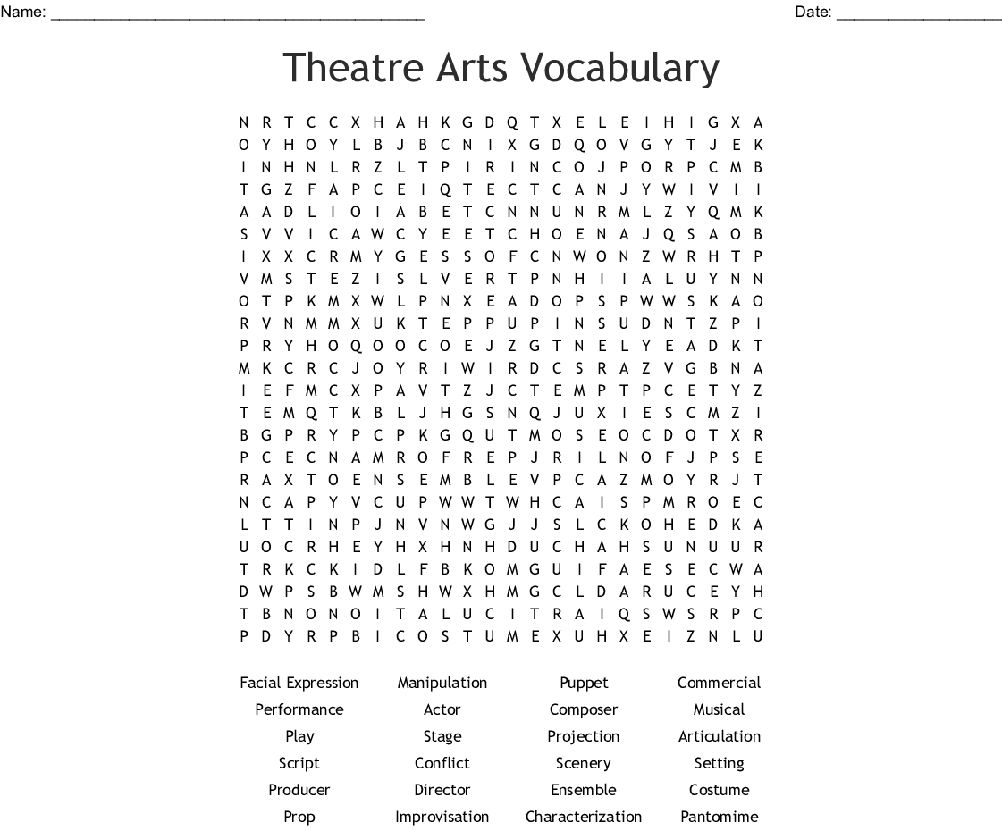 Theatre Arts Vocabulary Word Search - Wordmint