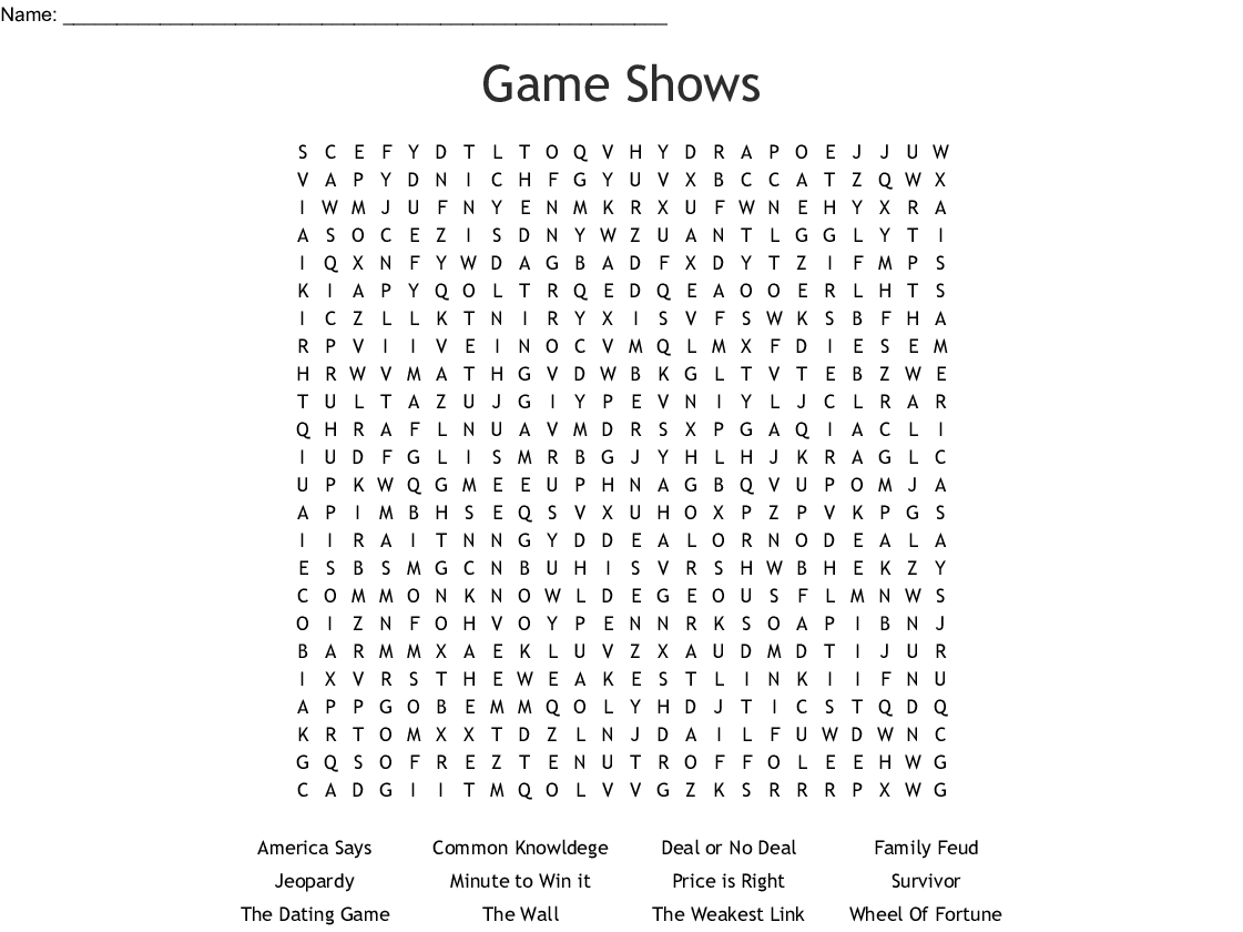 Tv Shows Word Search - Wordmint