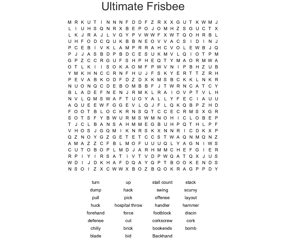 Ultimate Frisbee Word Search - Wordmint