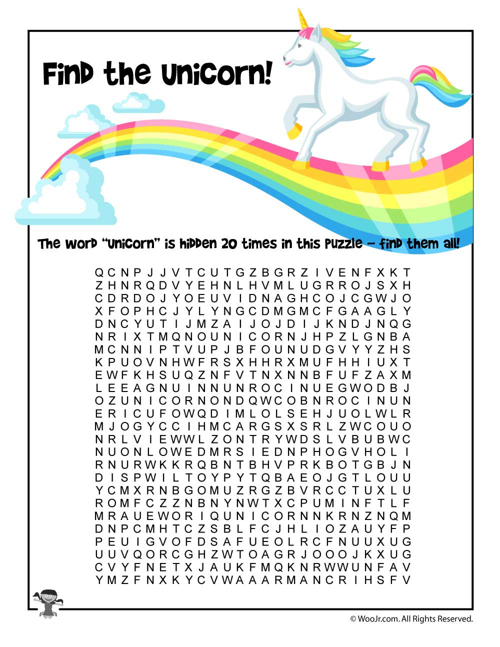 Unicorn Word Search | Woo! Jr. Kids Activities