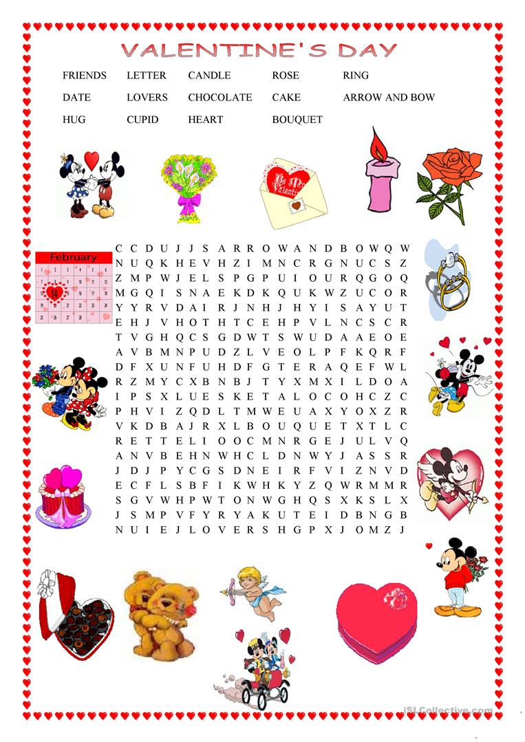 Valentine's Day Wordsearch - English Esl Worksheets For