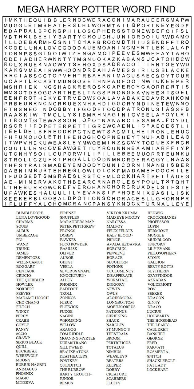 Very Hard Word Searches Printable | Mega Harry Potter Word