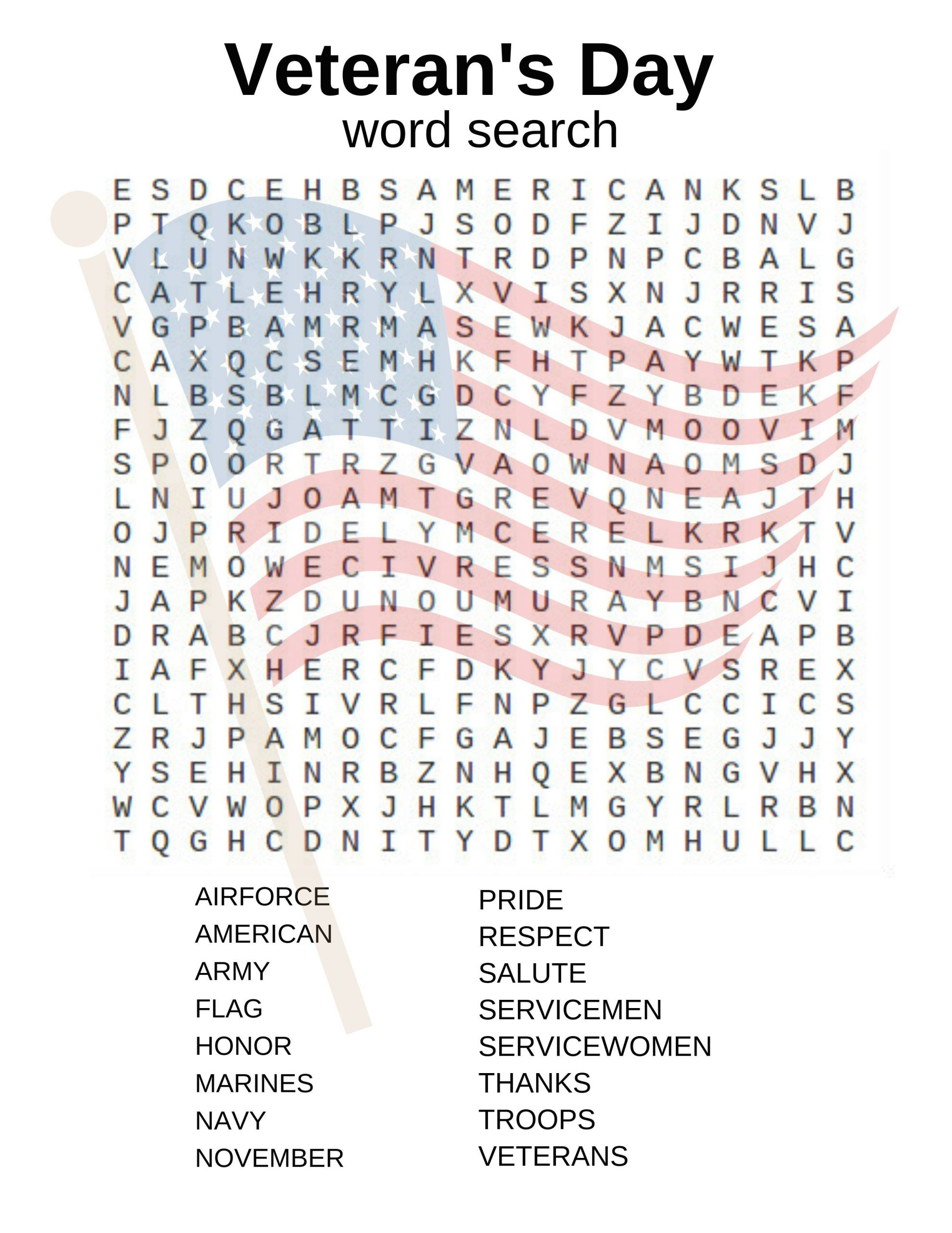 Veteran's Day Word Search And Other Activities!   Veterans