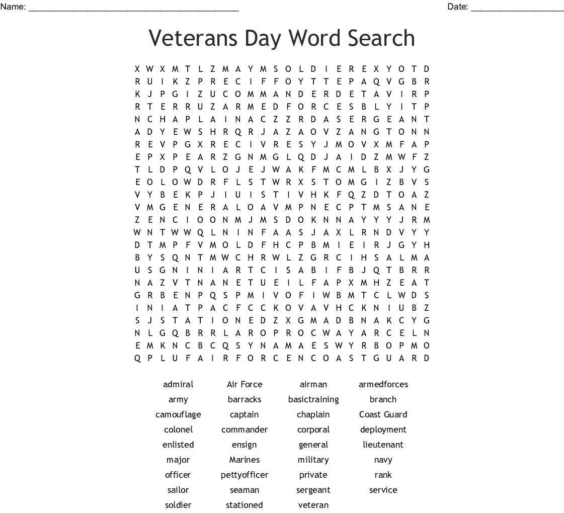Veterans Day Word Search - Wordmint