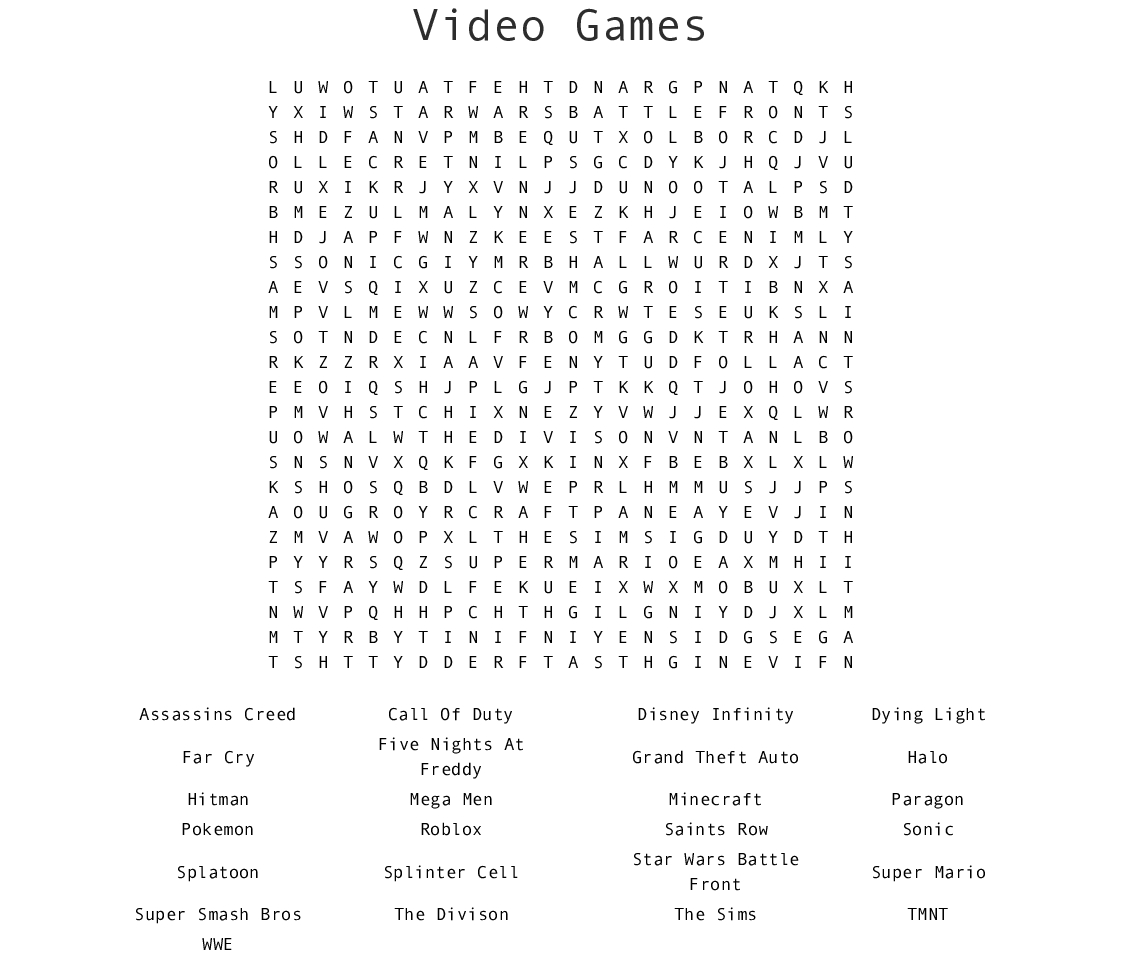 Video Games Word Search - Wordmint