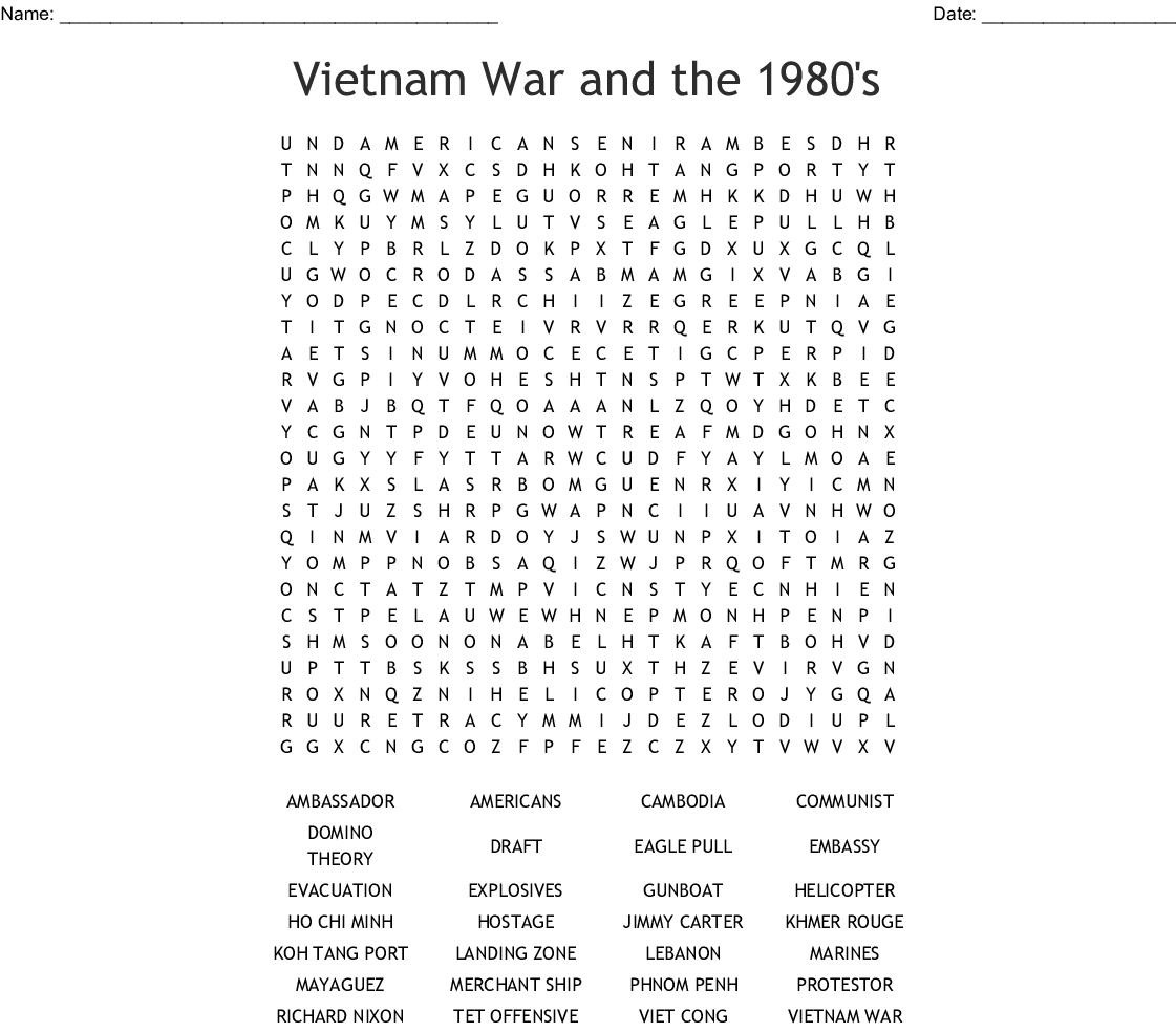 Vietnam War And The 1980's Word Search - Wordmint