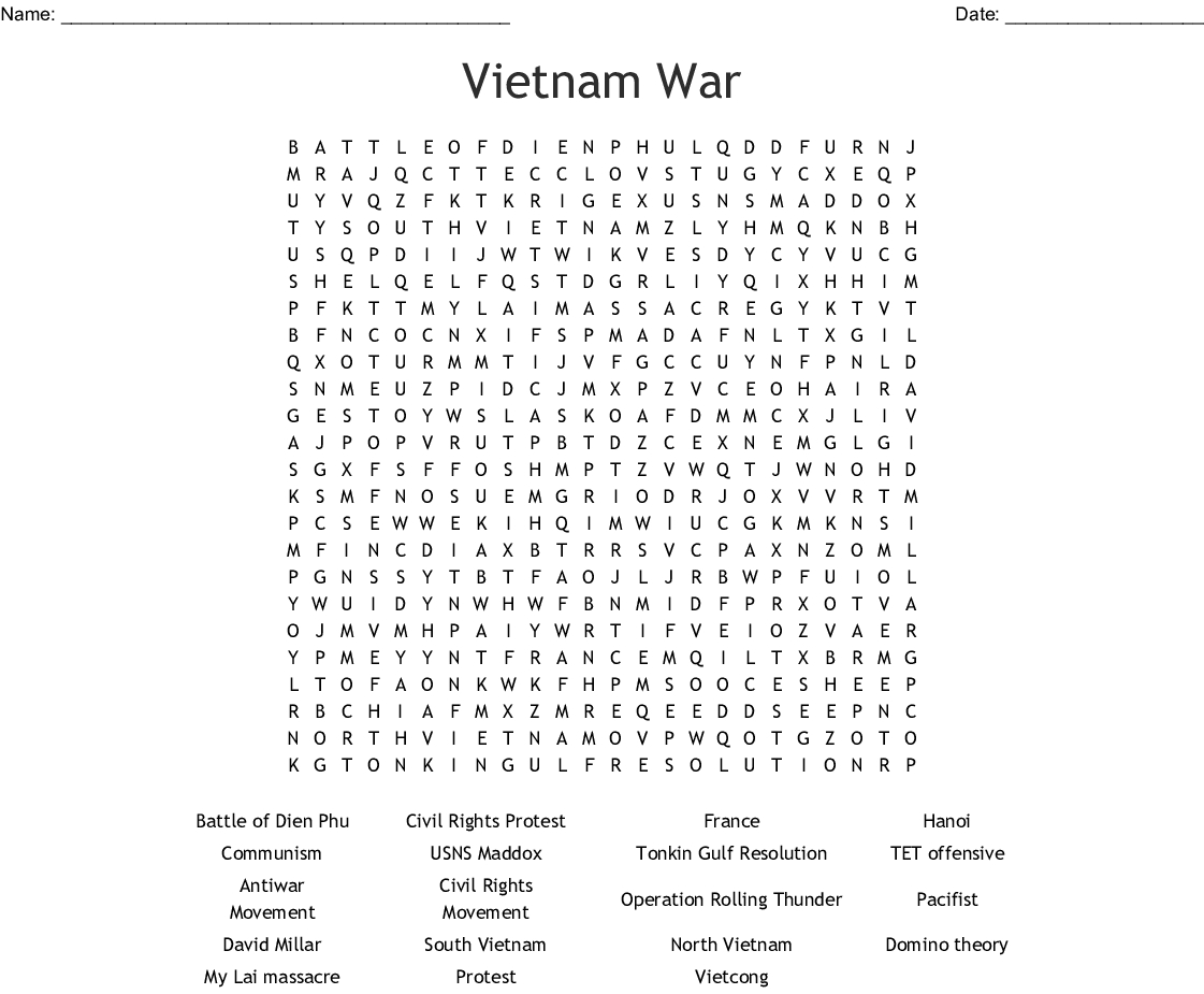 Vietnam War Word Search - Wordmint