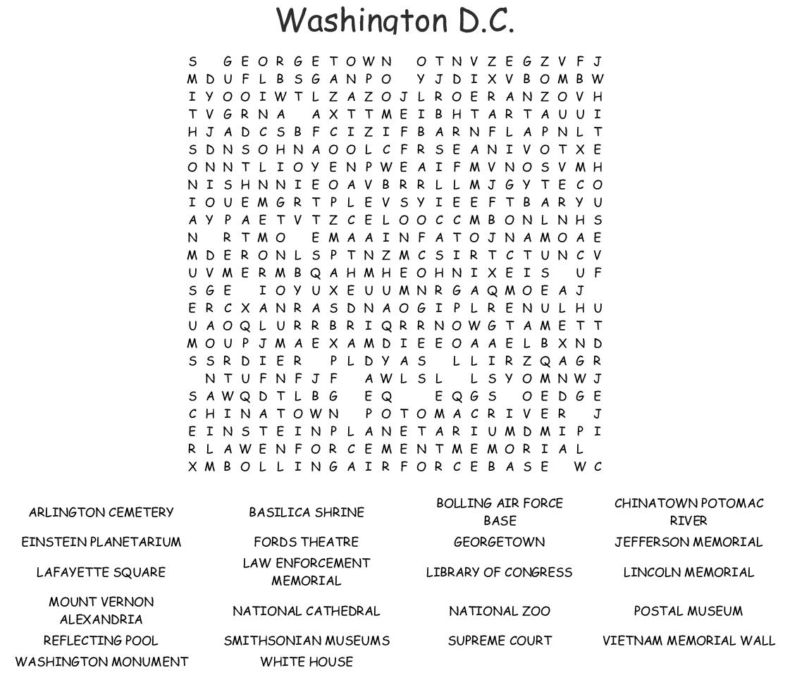 Washington, D.c. Word Search - Wordmint