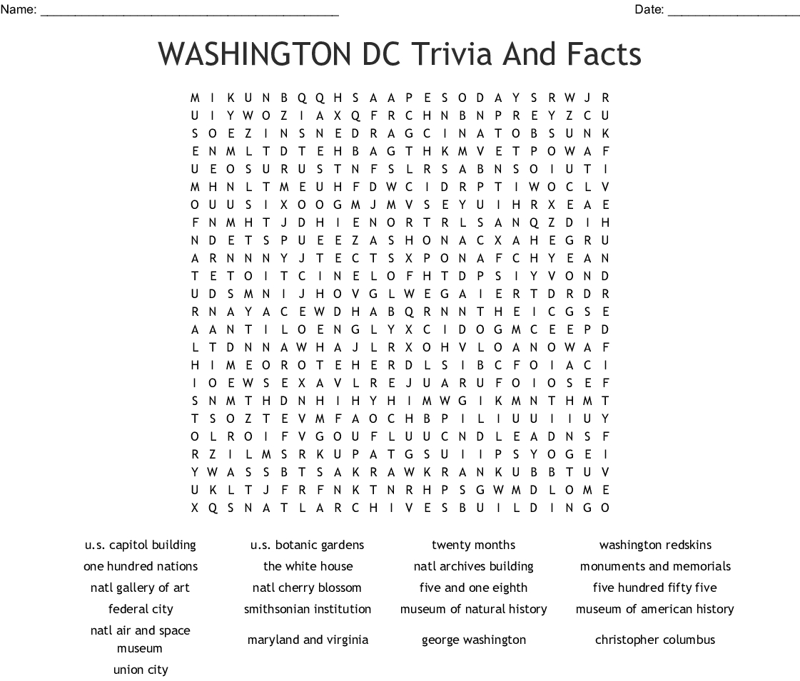 Washington Dc - District Of Columbia Word Search - Wordmint