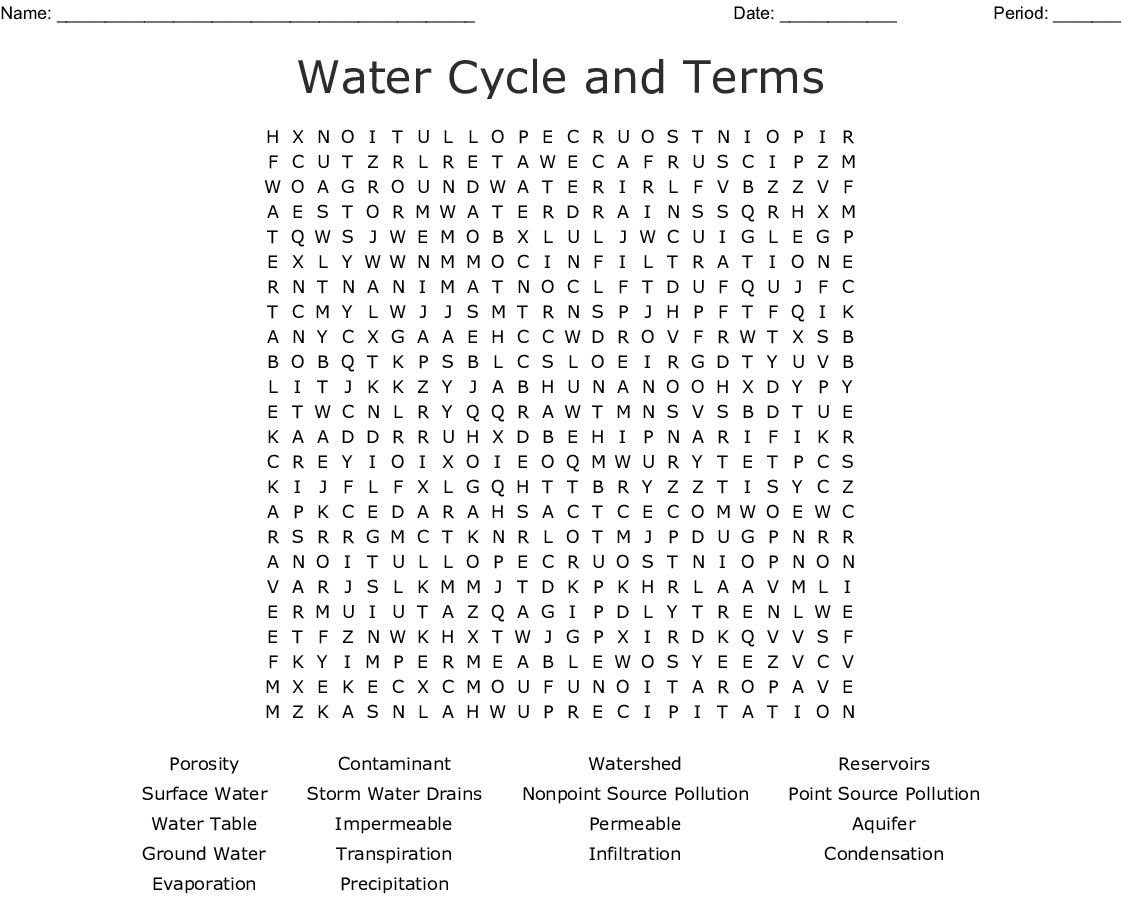 Water Cycle And Terms Word Search - Wordmint
