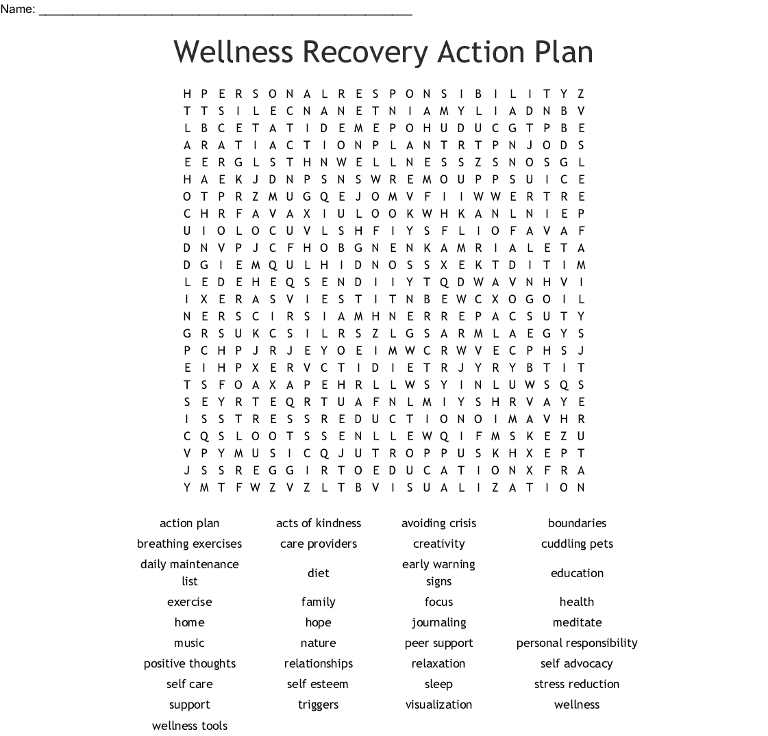 Wellness Recovery Action Plan Word Search - Wordmint