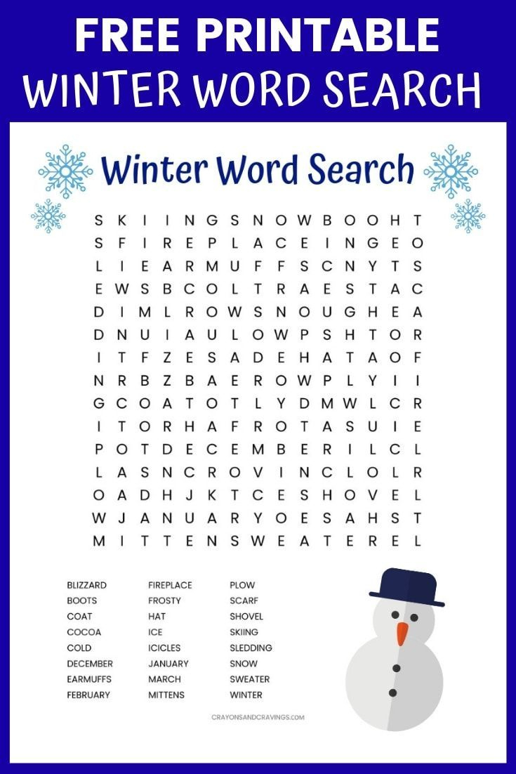 Winter Word Search Free Printable (With Images) | Winter