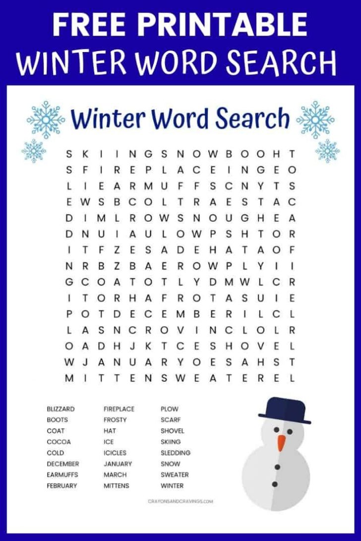 Free Printable Winter Word Search