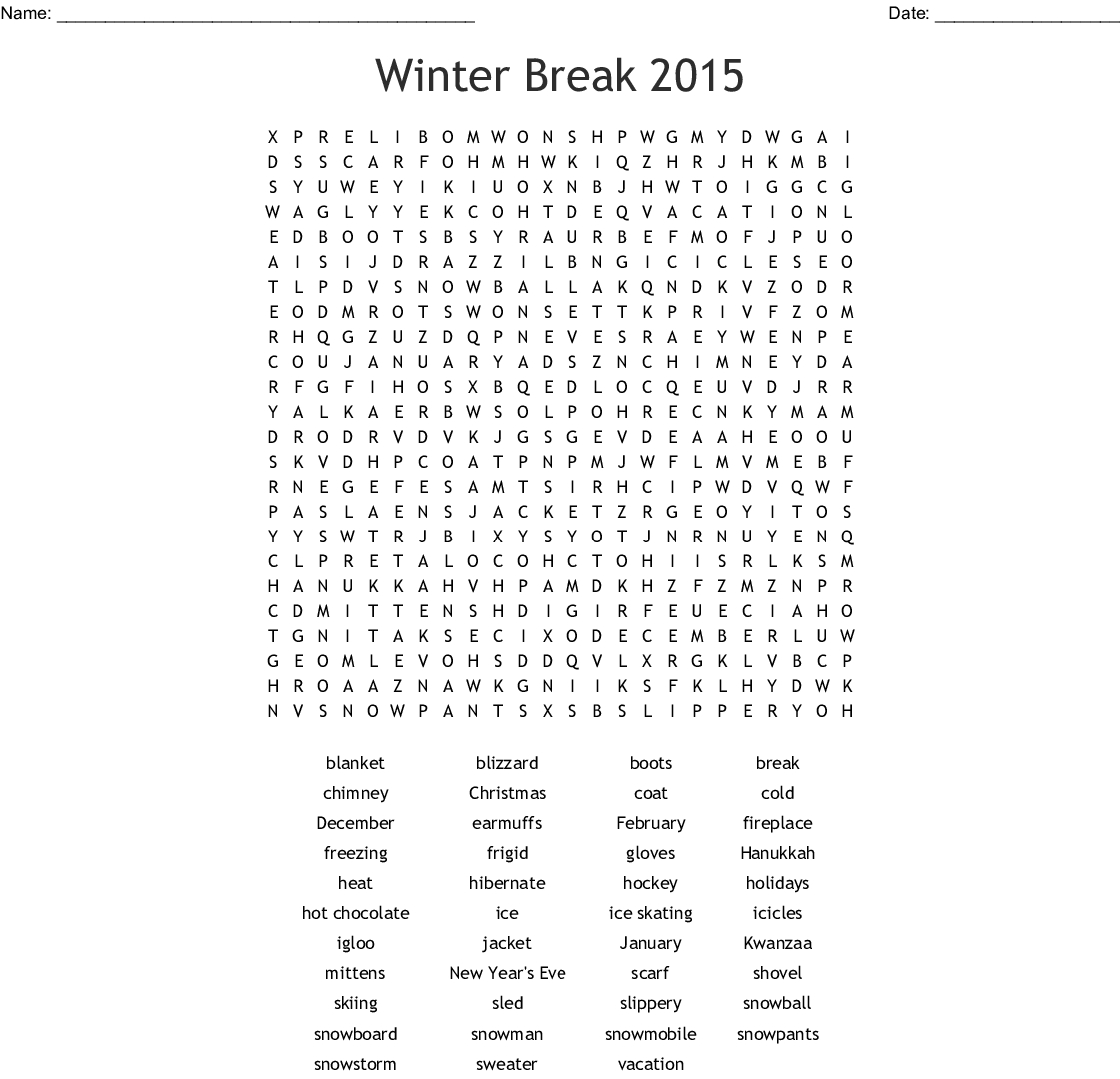 Winter Word Search - Wordmint