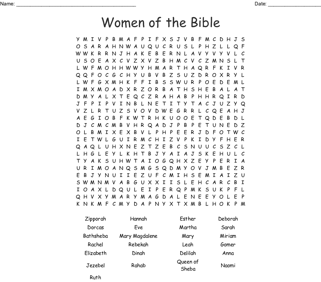 Women Of The Bible Word Search - Wordmint