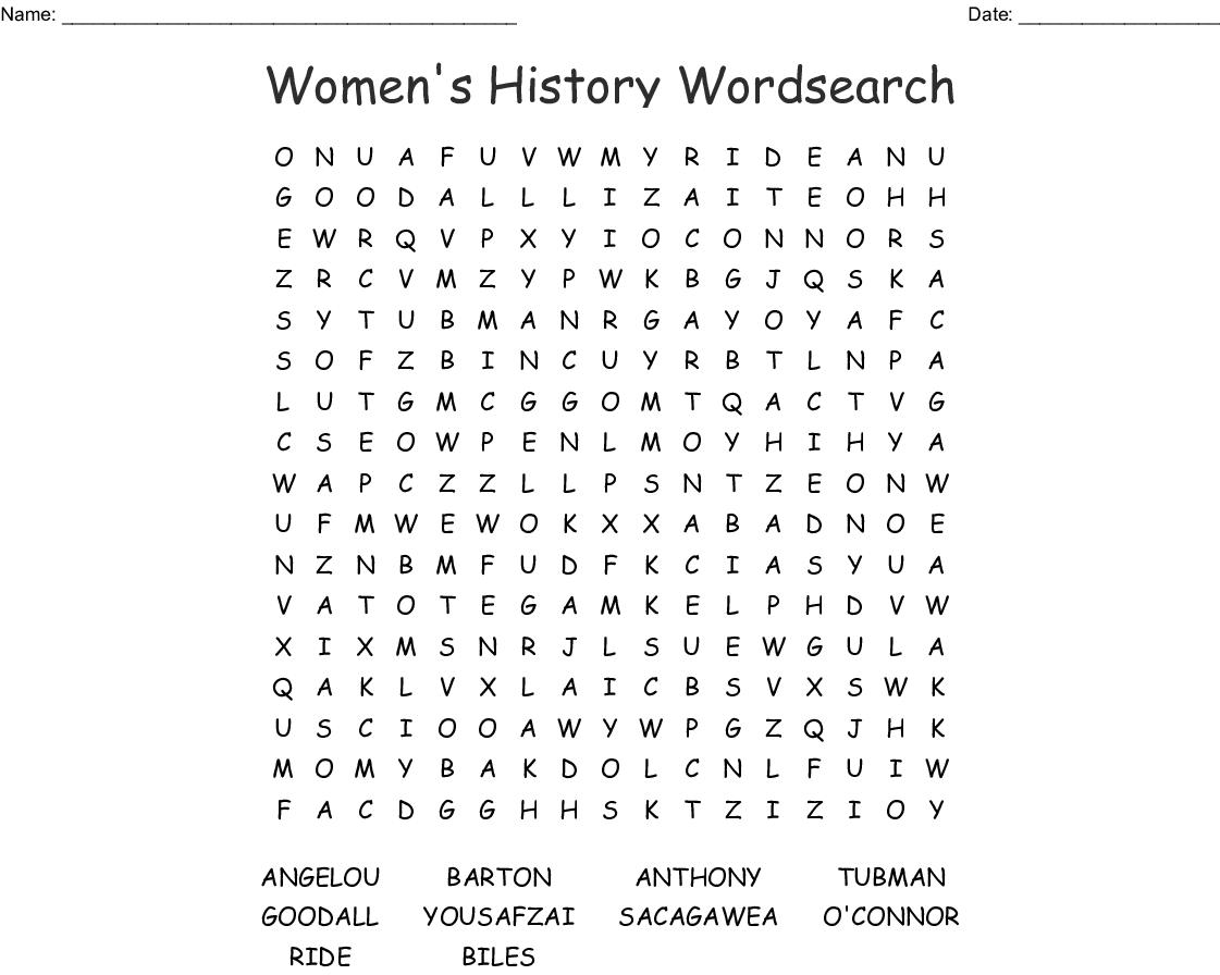 Women's History Wordsearch - Wordmint