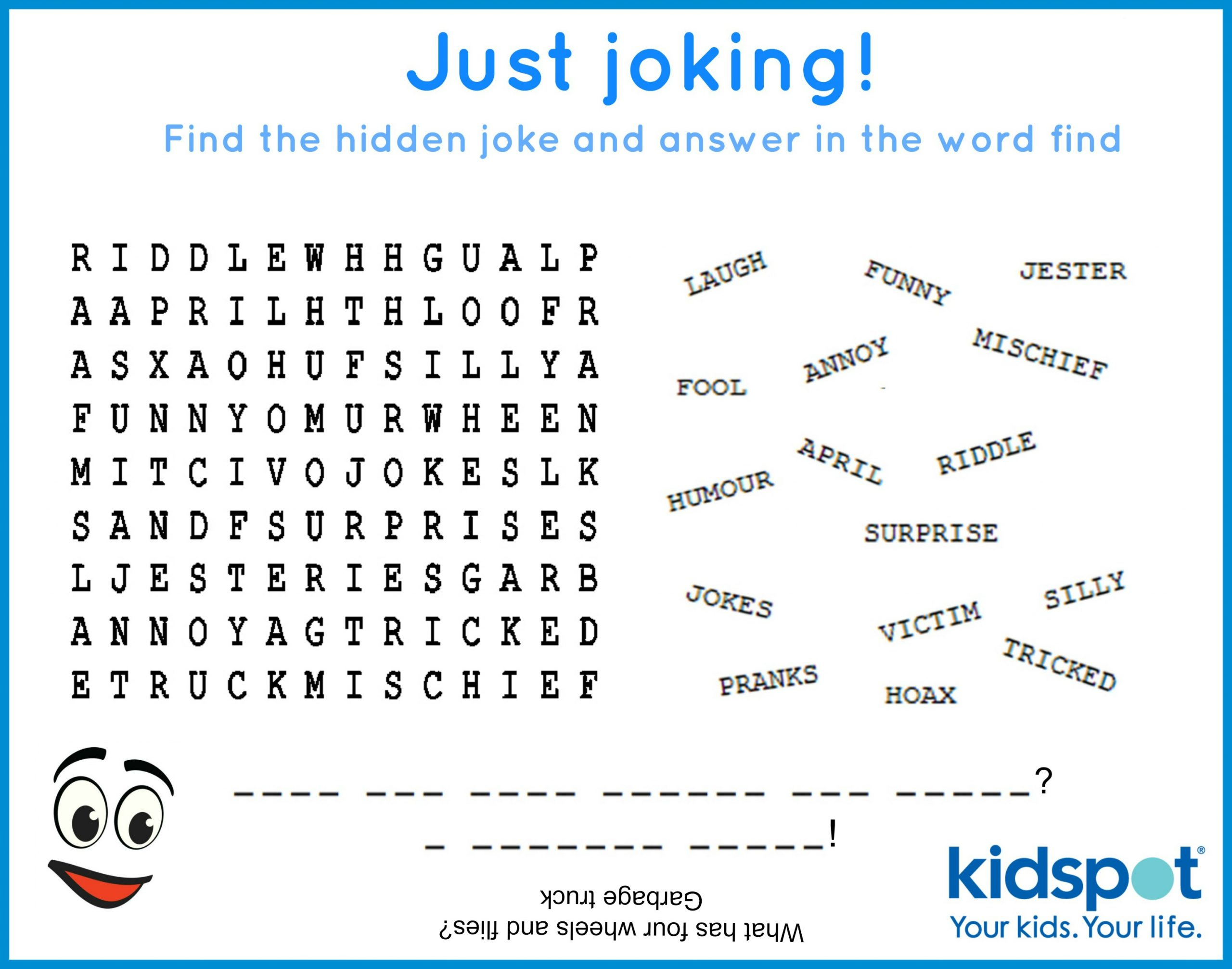 Word Find - Free Printable - April Fools Day