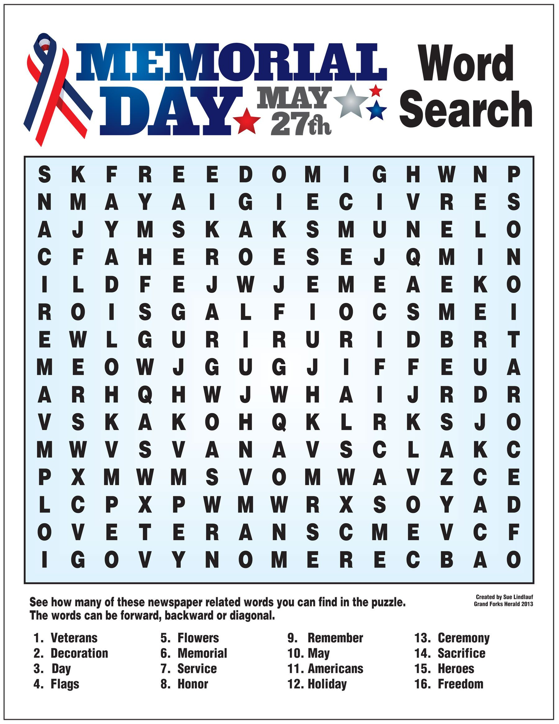 Word Search For Memorial Day | Writing Paper Printable