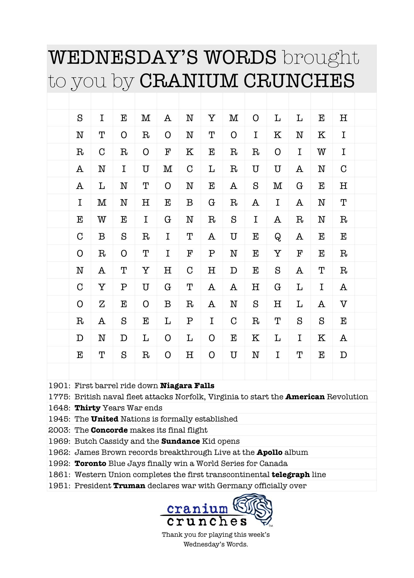 """Word Search Puzzle From Our Blog Themed """"Today In History"""