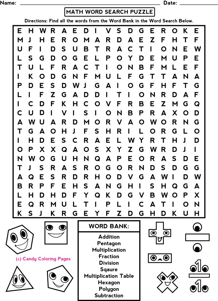 Free Printable Math Word Search