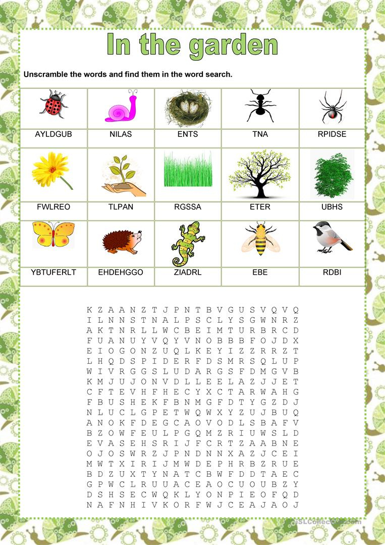 Wordsearch - In The Garden - English Esl Worksheets For