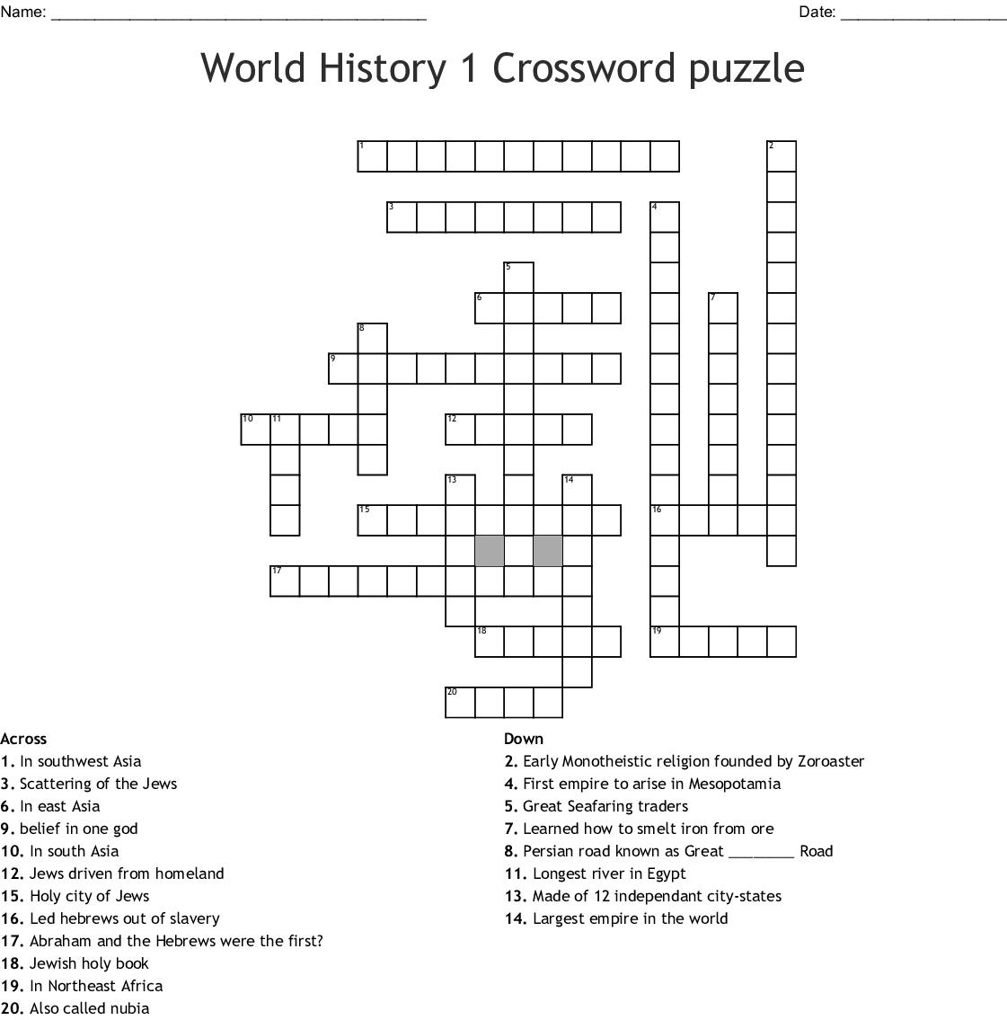 World History 1 Crossword Puzzle - Wordmint